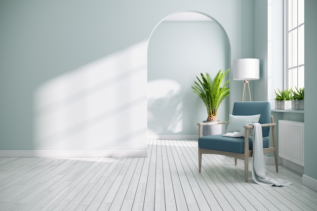 Intérieur de salon blanc moderne