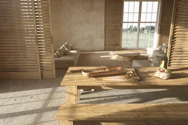 Intérieur de salon en bois de style scandinave et table à manger avec illustration de rendu 3d de nourriture