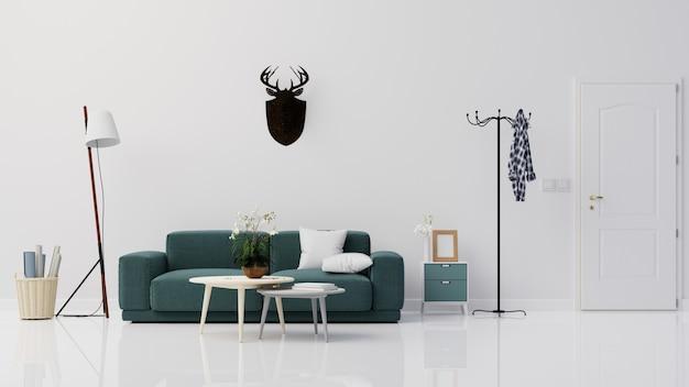 Intérieur de salon avec canapé et lampe rendu 3d