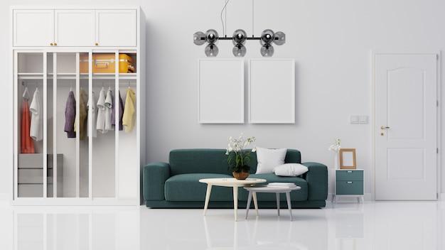 Intérieur de salon avec canapé et placard rendu 3d