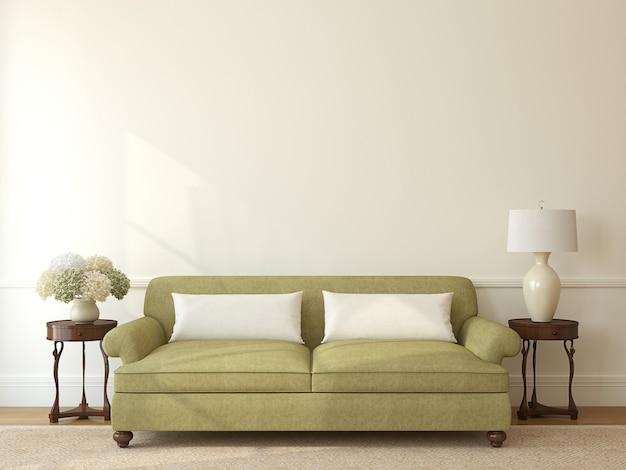 Intérieur de salon classique avec canapé vert près du mur beige vide. rendu 3d.