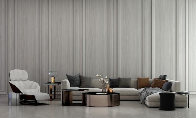 Intérieur de salon confortable moderne et décoration de meubles et fond de mur en bois