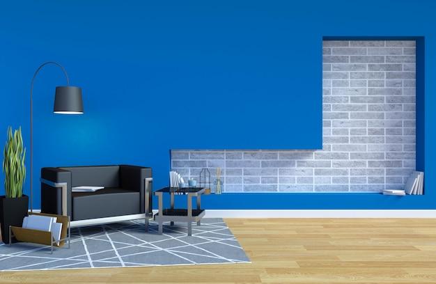 Intérieur de salon contemporain moderne avec mur bleu et espace de copie sur le mur