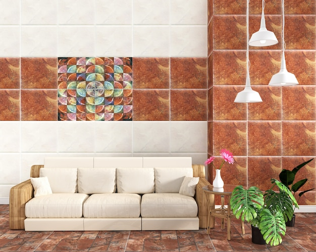 Intérieur de salon avec fond de mur de texture classique de tuile sur le plancher de tuile brun