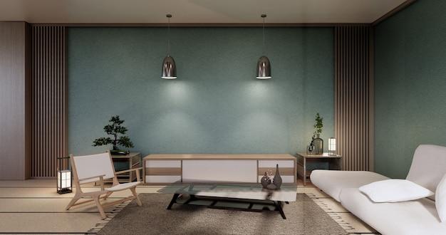 Intérieur de salon japonais à la menthe moderne, canapé et table d'armoire sur fond de mur blanc de la chambre. rendu 3d