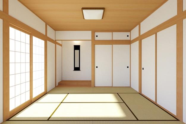 Intérieur de salon japonais vide au design traditionnel et minimaliste