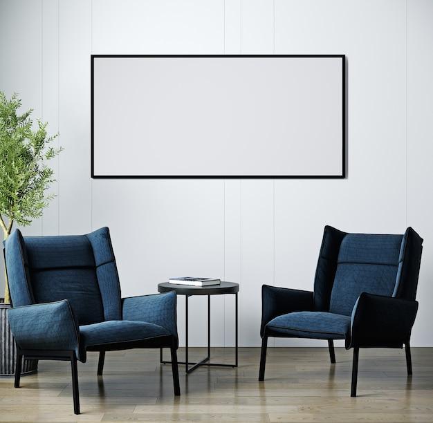 Intérieur de salon de luxe moderne, fauteuil bleu foncé sur plancher en bois, mur blanc vide