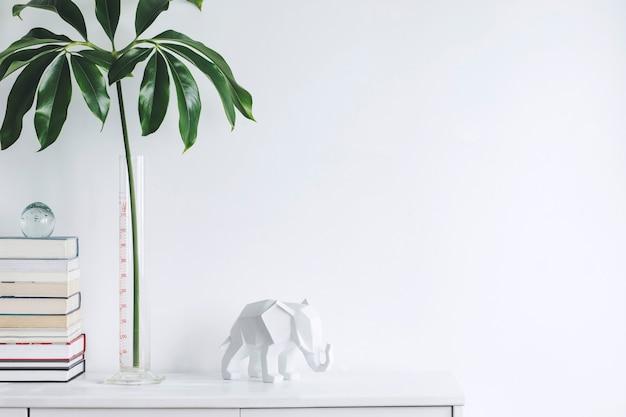 Intérieur de salon minimaliste créatif avec espace de copie commode moderne blanche feuille verte dans des livres de vase en verre et sculpture d'éléphant murs blancs template
