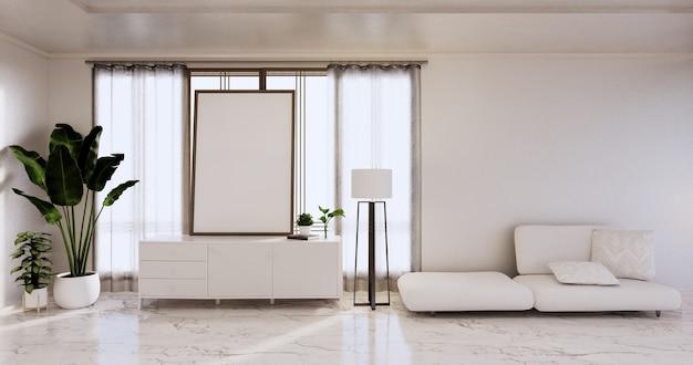 L'intérieur, le salon minimaliste moderne a un canapé et une armoire, des plantes, une lampe sur un mur blanc et un sol en carreaux de granit. rendu 3d