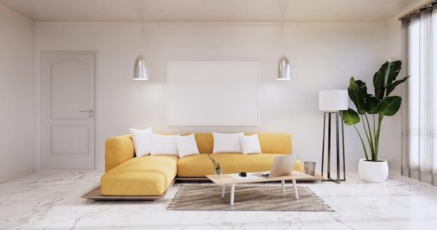 L'intérieur, le salon minimaliste moderne a un canapé jaune sur un mur blanc et un sol en carreaux de granit. rendu 3d