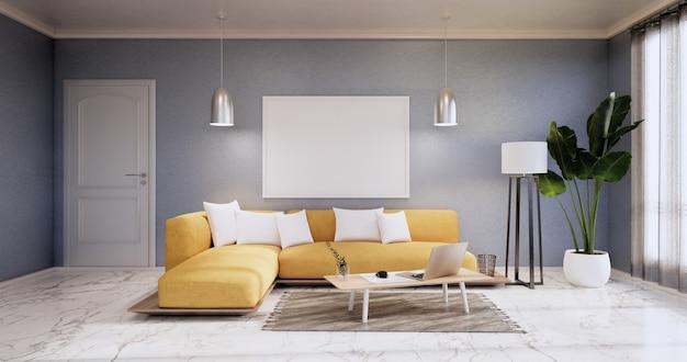 L'intérieur, le salon minimaliste moderne a un canapé jaune sur un mur bleu et un sol en carreaux de granit. rendu 3d
