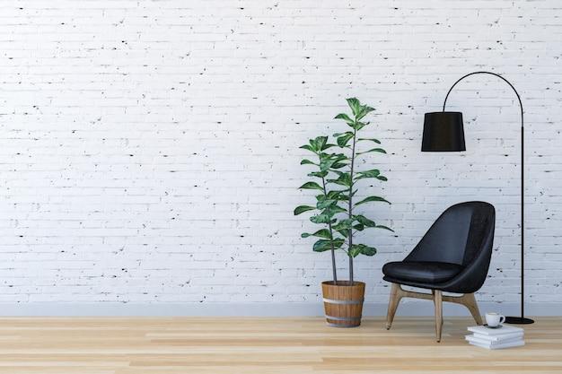 Intérieur de salon moderne en briques blanches avec espace de vie, rendu 3d
