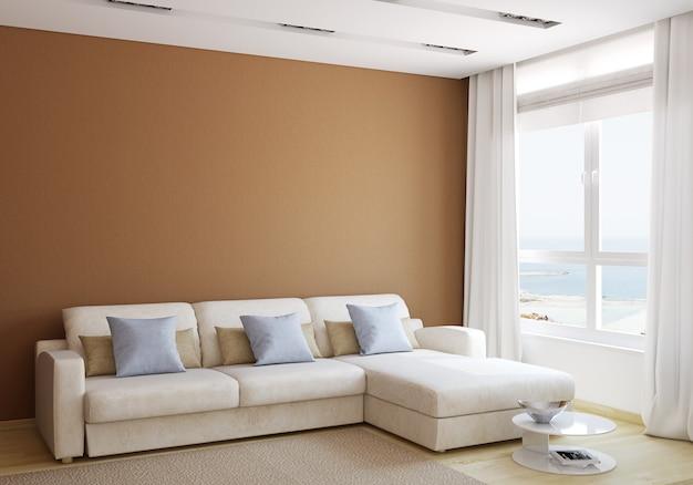 Intérieur de salon moderne avec canapé blanc près du mur brun vide. rendu 3d.
