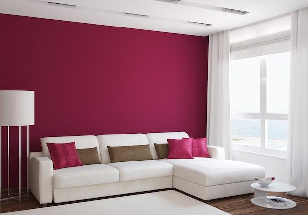 Intérieur de salon moderne avec canapé blanc près du mur rouge vide. rendu 3d.