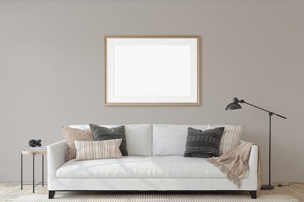 Intérieur de salon moderne avec le canapé blanc