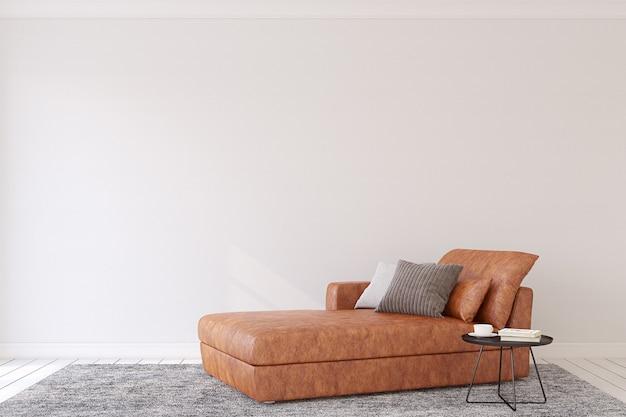 Intérieur de salon moderne avec canapé en cuir. rendu 3d.