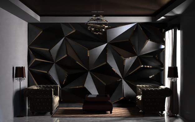 Intérieur de salon moderne avec canapé et fond de décoration de panneau mural rendu 3d