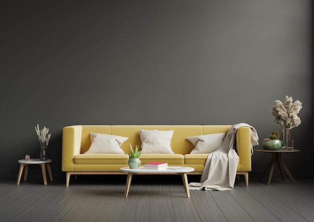 Intérieur de salon moderne avec canapé jaune et plantes vertes, lampe, table sur mur sombre.