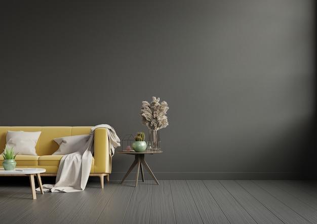 Intérieur de salon moderne avec canapé jaune et plantes vertes, lampe, table sur mur sombre