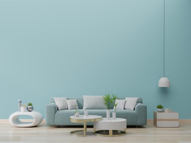 Intérieur de salon moderne avec canapé et plantes vertes, lampe, table sur fond de mur vert.