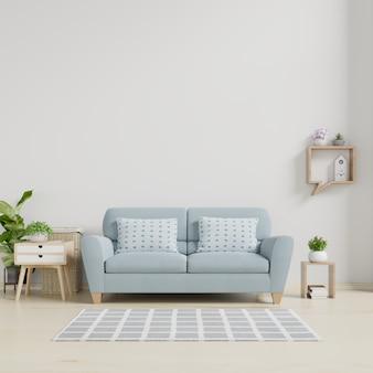 Intérieur de salon moderne avec canapé et plantes vertes, lampe, table sur mur blanc.