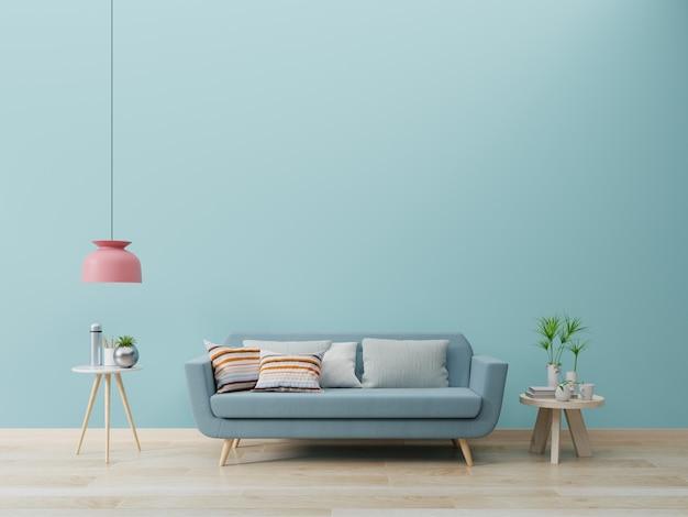 Intérieur de salon moderne avec canapé et plantes vertes, lampe, table sur mur bleu.