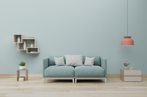 Intérieur de salon moderne avec canapé et plantes vertes, lampe, table sur le mur bleu.
