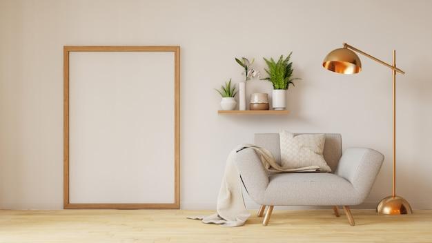 Intérieur de salon moderne avec canapé et plantes vertes, lampe, table sur le salon