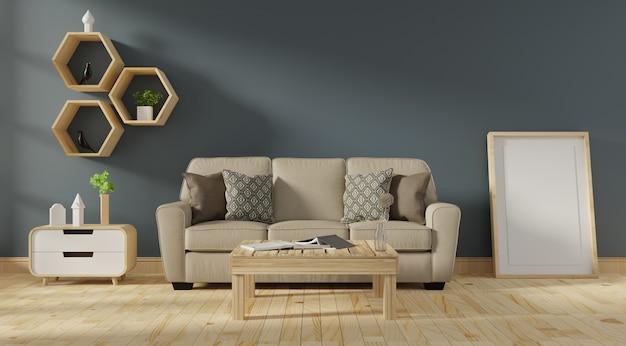 Intérieur de salon moderne avec canapé et plantes vertes