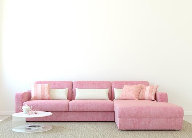 Intérieur de salon moderne avec canapé rose près de mur blanc vide