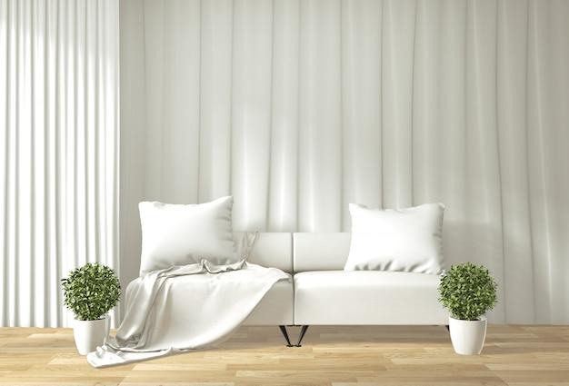 Intérieur de salon moderne avec canapé et salle de plantes vertes de style japonais
