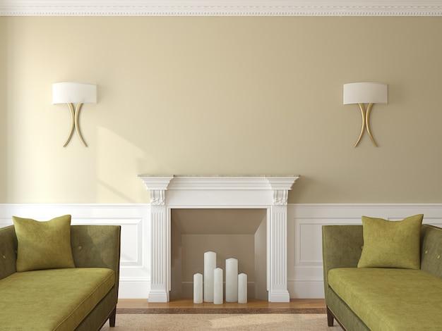 Intérieur de salon moderne avec cheminée. rendu 3d.