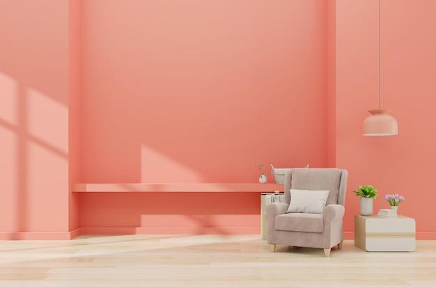 Intérieur de salon moderne avec fauteuil et plantes vertes, lampe, armoire sur mur de corail, rendu 3d