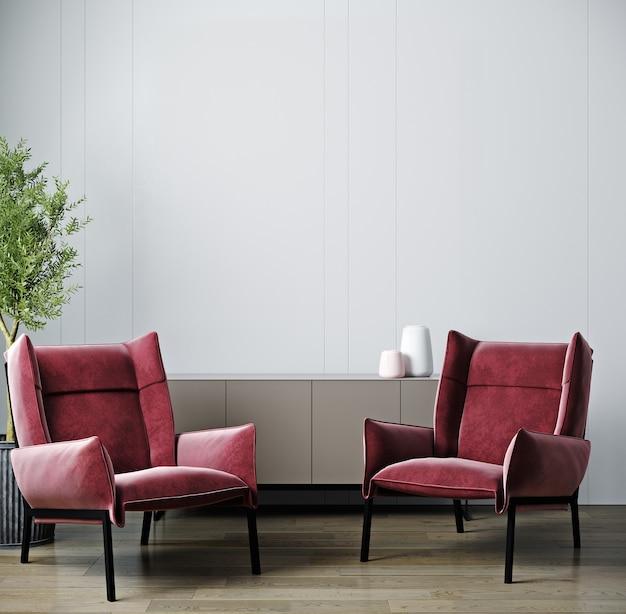 Intérieur de salon moderne, fauteuil rouge sur maquette de mur vide blanc, rendu 3d