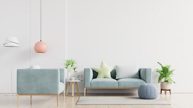Intérieur de salon moderne lumineux et confortable avec canapé et lampe sur mur blanc.
