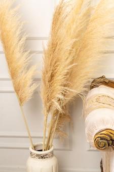 Intérieur de salon scandinave élégant d'un appartement moderne avec de l'herbe de la pampa et un canapé confortable aux couleurs claires. un morceau de canapé classique beige et d'herbe de pampa dans un vase. herbe de la pampa. décoration de maison.