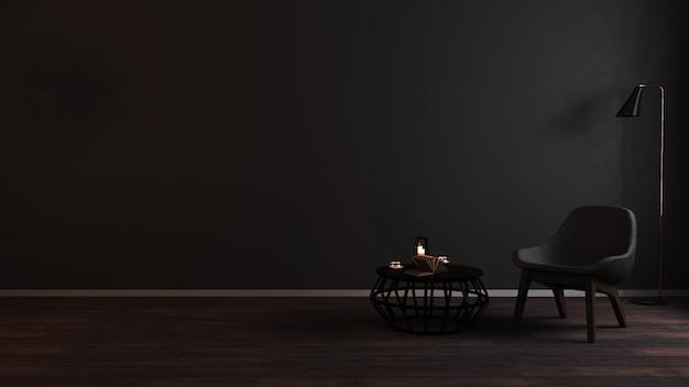 Intérieur de salon sombre de luxe moderne