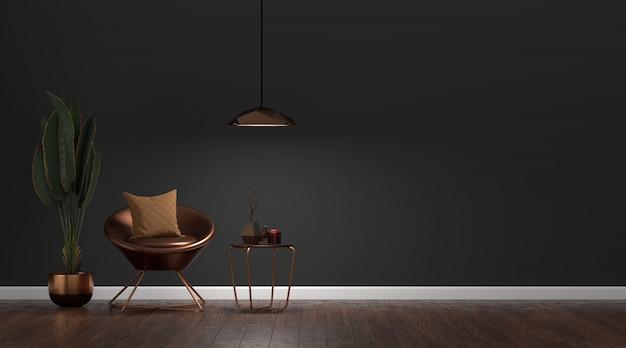 Intérieur de salon sombre moderne de luxe