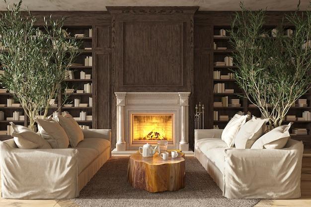 Intérieur de salon de style ferme scandinave avec cheminée illustration de rendu 3d