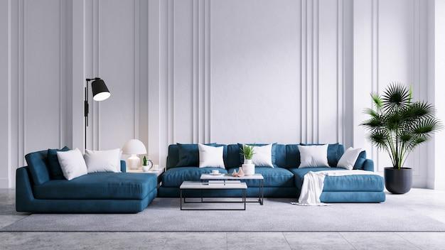Intérieur de salon vintage moderne, canapé bleu avec mur blanc et sol en béton