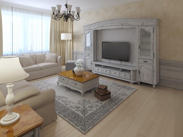 Intérieur shabby-chil du salon dans des couleurs crème et beige douces avec système mural de style classique et murs en plâtre écru et parquet clair.