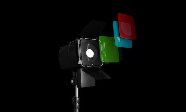 Intérieur de studio photo vide de rendu 3d avec équipement sur fond blanc