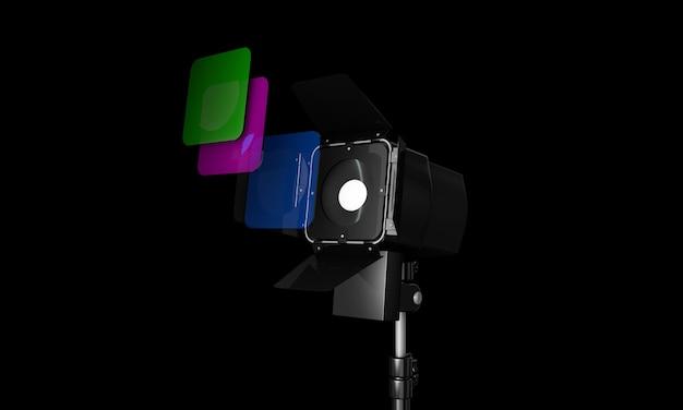 Intérieur De Studio Photo Vide De Rendu 3d Avec équipement Sur Fond Blanc Photo Premium