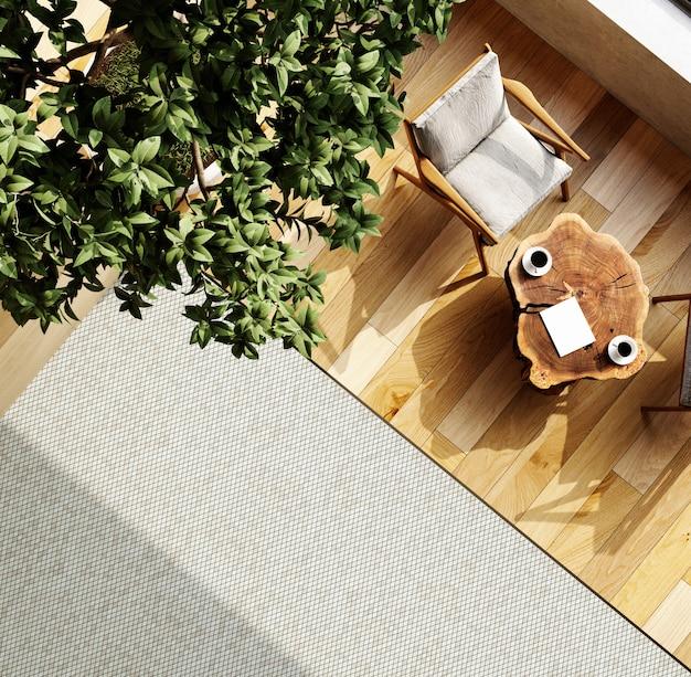 Intérieur d'un studio de salon moderne avec une table basse et des fauteuils confortables. vue de dessus. rendu 3d.