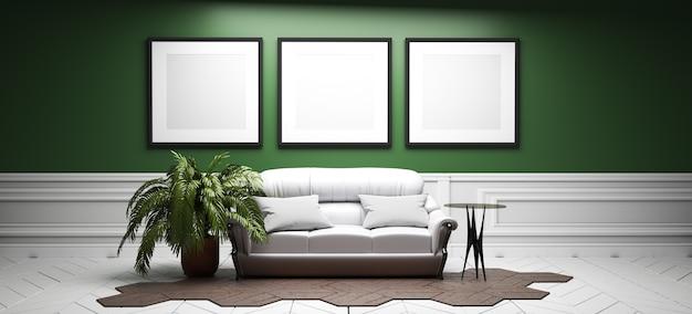 Intérieur de style plein de couleur verte vivante. rendu 3d