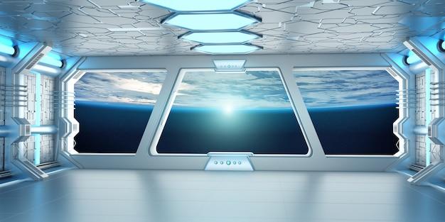 Intérieur d'un vaisseau spatial avec vue sur la planète terre rendu 3d