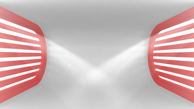 Intérieur vide conceptuel ultra moderne avec des rayons lumineux provenant des fenêtres