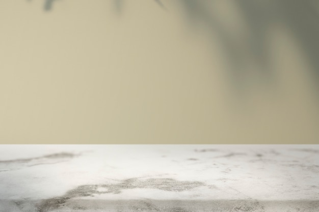 Intérieur vide avec ombre de feuille tropicale