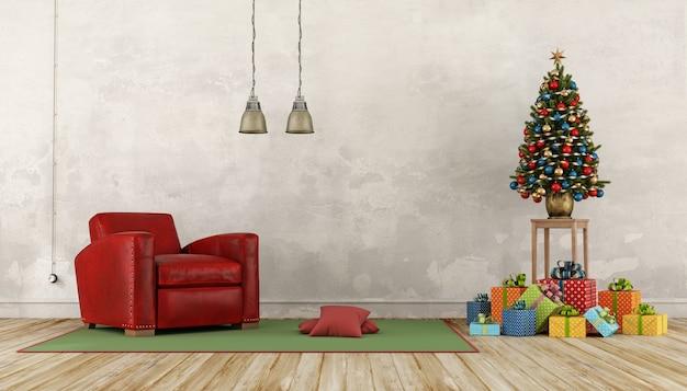 Intérieur vintage avec cadeau coloré, arbre de noël et fauteuil rouge. rendu 3d