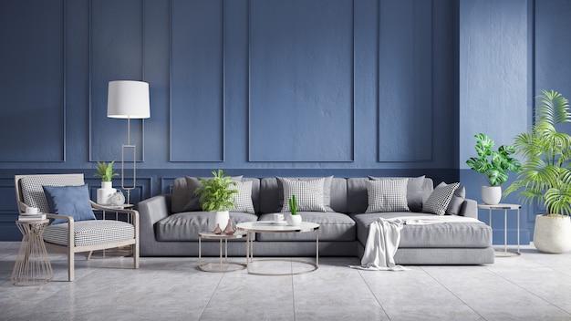 Intérieur vintage moderne du salon, canapé gris avec fauteuil en bois et table basse sur carrelage en béton et mur bleu foncé, rendu 3d